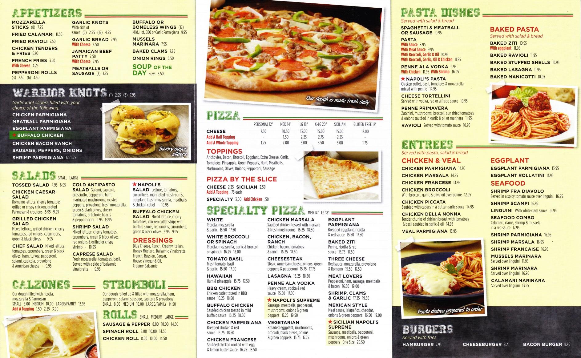 Whereisthemenu Net Napoli S Pizzeria Slate Hill Ny 10973