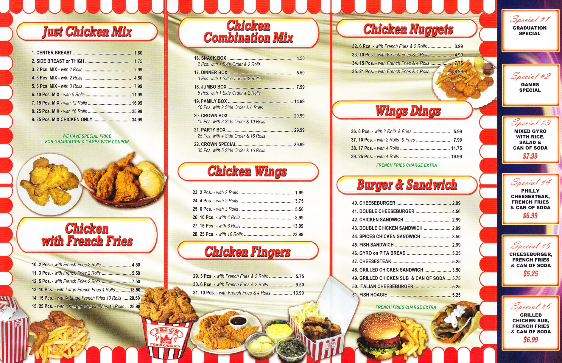 Crown fried chicken newburgh ny 12550 for Fish and chicken menu