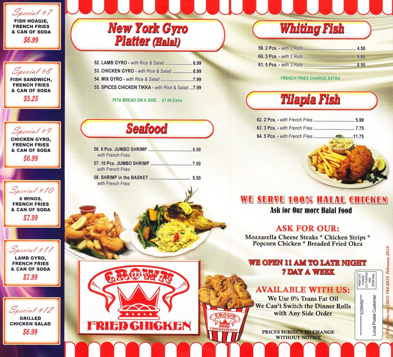 Whereisthemenu net   Crown Fried Chicken - Newburgh, NY 12550